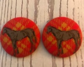 SET OF TWO Fabric covered button magnets bay horse on red plaid - super cute magnets 1 7/8 inch diameter