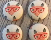 SET OF FOUR Fabric covered button magnets geek red fox with glasses - super cute magnets 1 1/8 inch diameter
