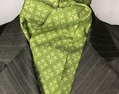 73 inch Four Fold Stock Tie, Foxhunting Traditional Stock Tie, Horse Show Stock Tie, Light Green on Green High Quality Cotton Fabric