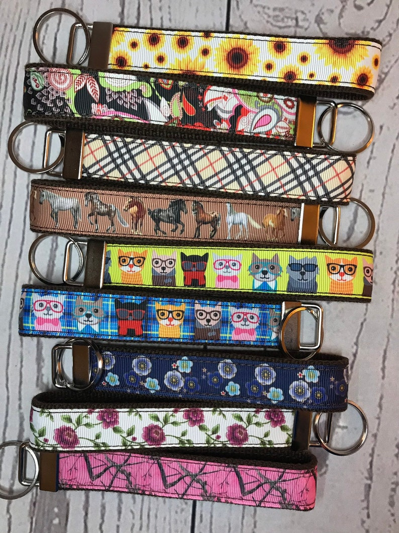 Key Fob Brown Cotton Canvas and Grosgrain Ribbon  choose image 0