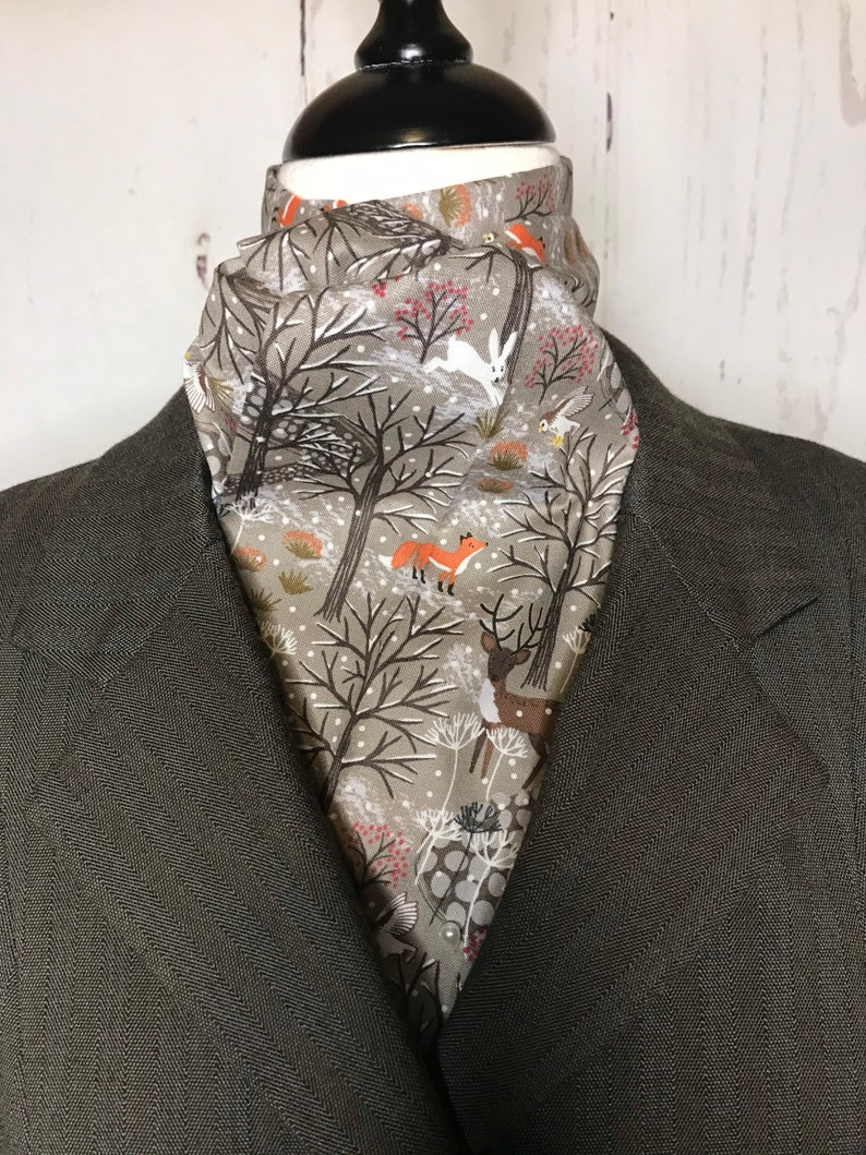 TAUPE winter woodland scene  Four Fold Stock Tie Foxhunting image 0