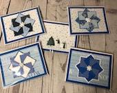 Winter Holiday Season Handmade Card 4.25 x 5.5 Blue Card with Snow, Snowflakes, Snowmen