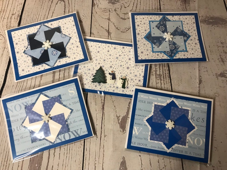 Winter Holiday Season Handmade Card 4.25 x 5.5 Blue Card with image 0
