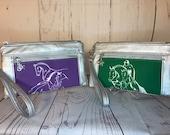 Eventing Dressage Jumping Horse Wristlet purse with front zip pocket, Equestrian double zipper pouch, wristlet clutch purse