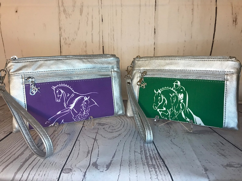 Eventing Dressage Jumping Horse Wristlet purse with front zip image 0