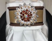 Beige and Brown Satin Ribbon and Trim, White Cotton Stock Tie Pin Included, Dressage Stock Tie, Eventing Stock Tie