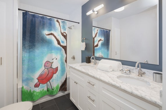 Shower Curtain With Bright Red Bird Art Stormy Blue Sky