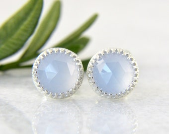 935682ece natural blue chalcedony stud earrings in sterling silver - 8mm - natural chalcedony  studs - chalcedony studs - light blue studs