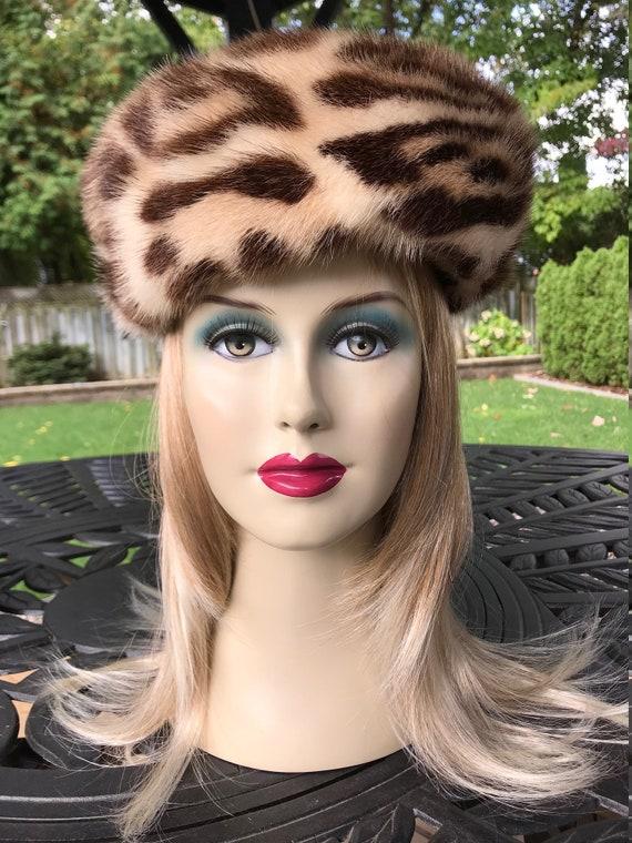 Women Leopard Print Mink Fur Hat
