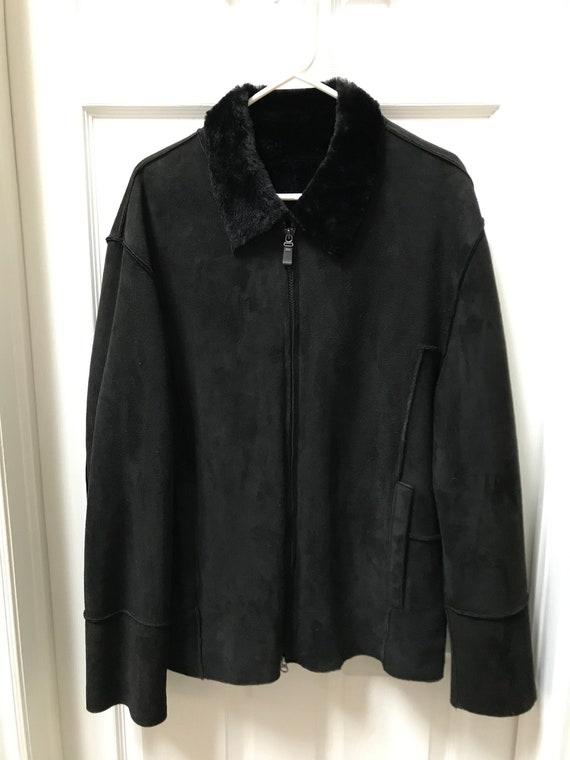 Men BLACK SHEARLING SHEEPSKIN Fur Jacket Sz. Large