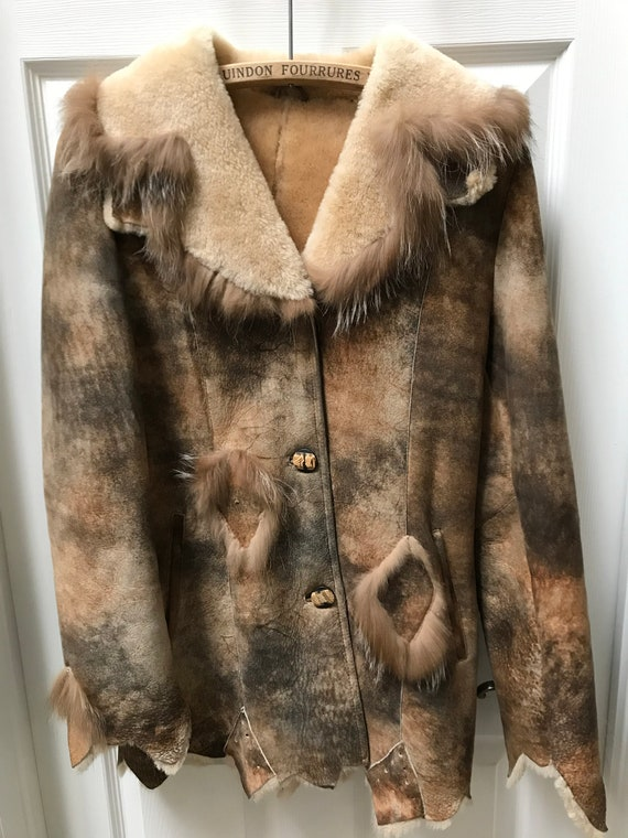 Women Shearling Sheepskin Fur Jacket Size small
