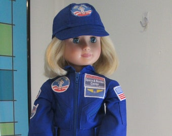 """Orange Nasa Astronaut Suit and Hat Fits 18/"""" American Girl Dolls 2pc"""