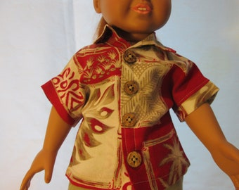 2be797983b3f Hawaiian Aloha Shirt for 18 inch Dolls
