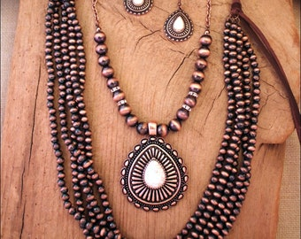 Southwestern Engraved Copper Tear Drop White Stone Concho Pendant Navajo Style Beads - Two Piece Necklace Set