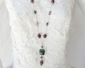 """Antique Style Chain Necklace 39"""", Ruby Zoisite, 925 Sterling Silver"""