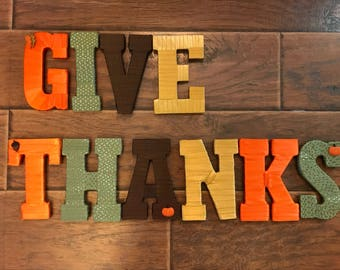 Give Thanks, Fall Decoration Letters, Thanksgiving Decoration, Give Thanks Letters, Decorative Letters, Thanksgiving Mantle, Fall Home Decor