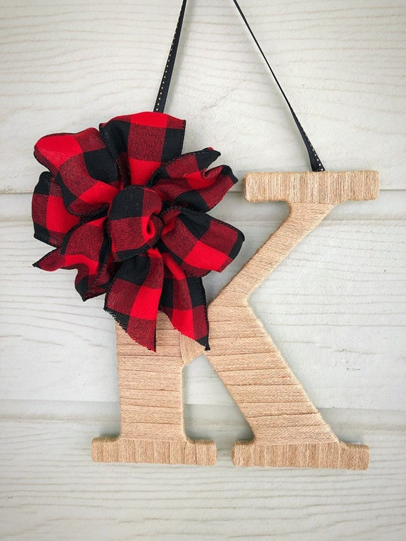 Burlap Door Hanger Front Door Decor Christmas Door Hanger Buffalo Plaid Decor Fall Door Hanger Decorative Letters Door Monogram Gift