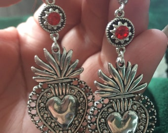 Sagrado Corazón Earrings, Sacred Heart Earrings, Aretes De Corazón, Aretes Mexicanos, Flaming Heart Earrings, Teacher Gift, Autumn Earrings