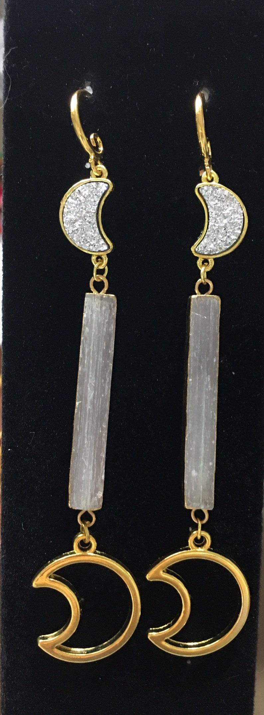 Celestial Jewelry Selenite Earrings Easter Gift Healing Jewelry Luna Earrings Celestial Earrings Crescent Moon Earrings