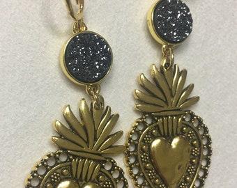 Sagrado Corazón Earrings, Sacred Heart Earrings, Aretes De Corazón, Aretes Mexicanos, Flaming Heart Earrings, Autumn Earrings, Fall Earrings