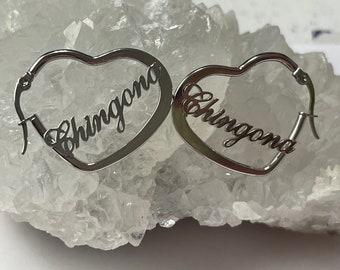Chingona Heart Hoop Earrings, Chingona Hoop Earrings, Chingona Jewelry, Soy Chingona, Latina Earrings, Latina Jewelry