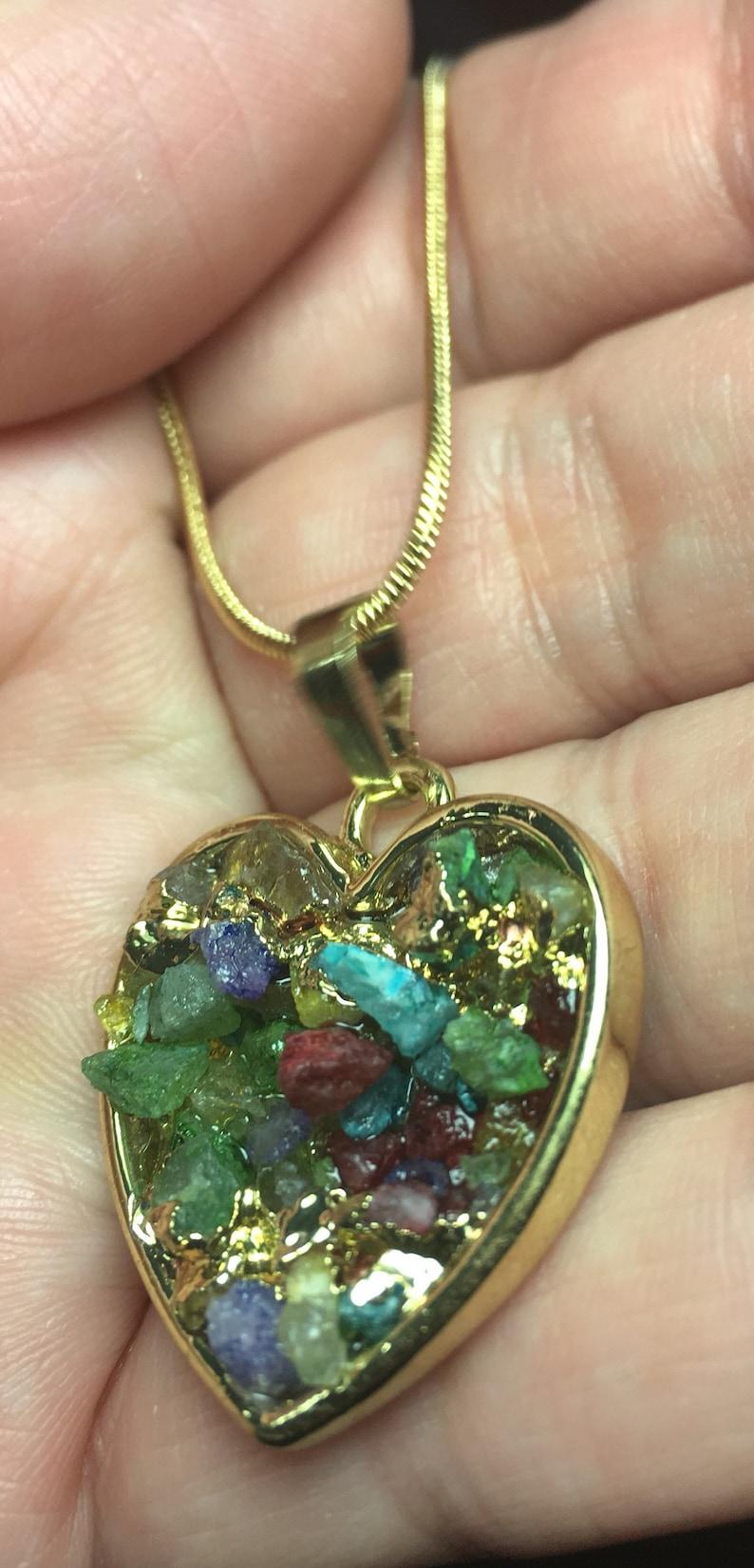 druzy multicolor crystals arrowhead pendant and necklace