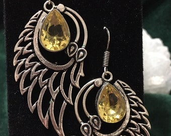Natural Citrine .925 Silver Half Wing Earrings, Silver Wings Earrings, Regalo De Dia De Las Madres, Angel Wings Earrings, Healing Jewelry