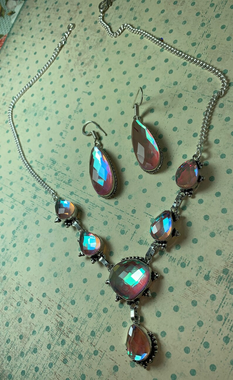 Gift For Her Summer Rainbow Fire Topaz Jewelry Set Graduation Gift Rainbow Topaz Necklace Rainbow Topaz Earrings 925 Sterling Silver