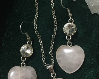 Rose Quartz Heart Jewelry Set, Healing Jewelry, Self Love Crystal Jewelry, Genuine Rose Quartz Jewelry Set, Graduation Gift, Self Love Stone