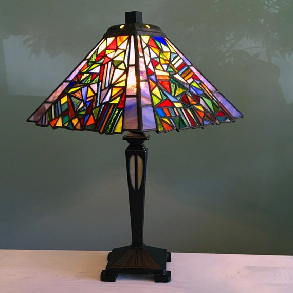 Art Deco Stained Glass Tiffany Style Table Lamp Patchwork