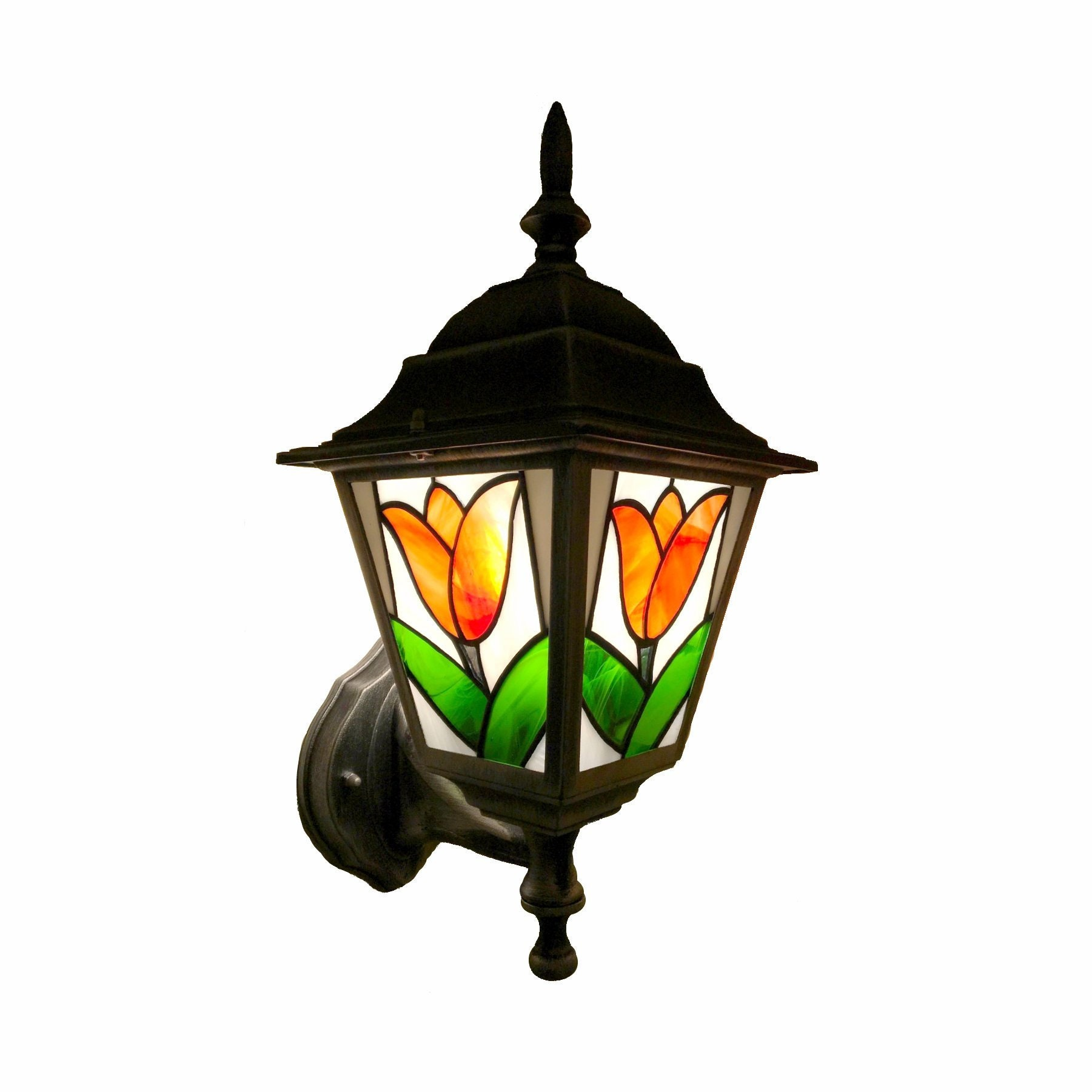 Stained Glass Outdoor Wall Light Tulip