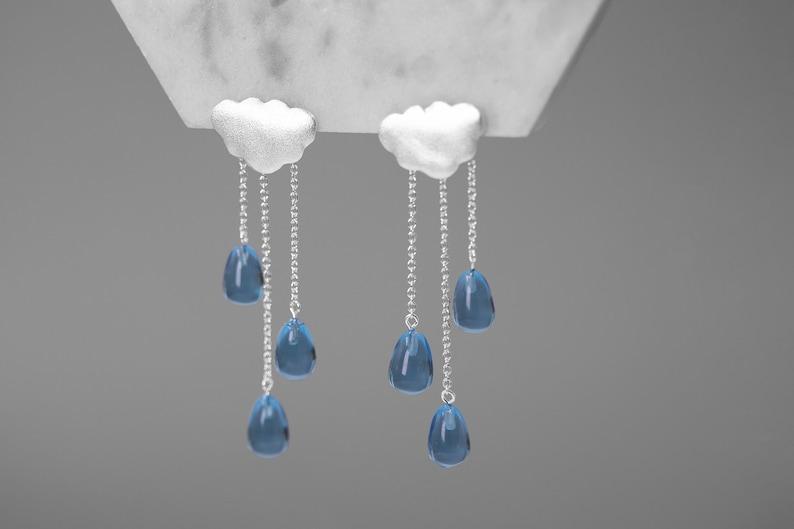 Rain Cloud Earring White Cloud Blue Raindrop Earring Sterling image 0