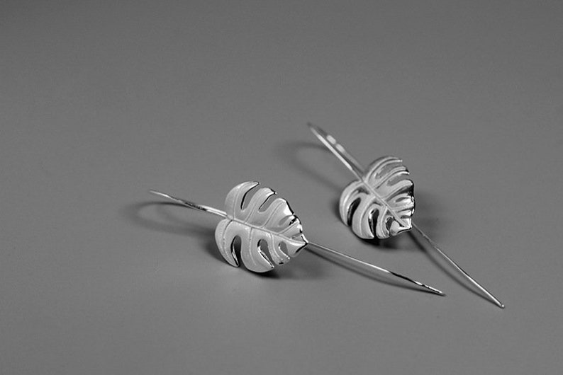263d7169d Monstera Leaf Earring-Sterling Silver Simple Leaf Earring-Palm   Etsy