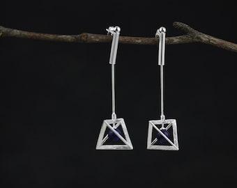 Geometric Triangle Pyramid Earrings Metallic Dangle Earrings 2in1 Handmade Jewelry Gift for her