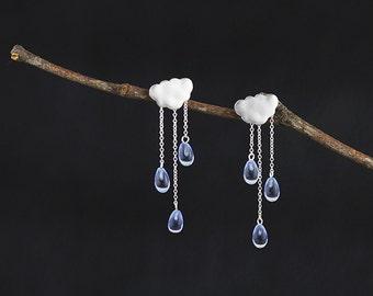 Rain Cloud Earring White Cloud Blue Raindrop Earring Sterling Silver Cloud Blue Crystal Raindrop Earring Women Earring Gift For Her