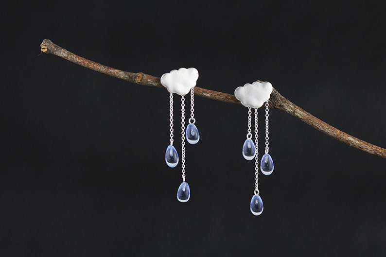 cbfa0960b5b1e Rain Cloud Earring White Cloud Blue Raindrop Earring Sterling Silver Cloud  Blue Crystal Raindrop Earring Women Earring Gift For Her