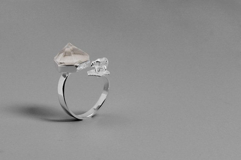 1b60eddedb981b Polar Bear Iceberg Charm Ring-Sterling Silver Bear Stone Open | Etsy