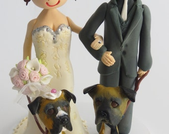 7793feb5bd60 Personalised Bride   Groom Cake Topper with 2 dogs on round base board  Polymer Clay Keepsake. Approximately 6
