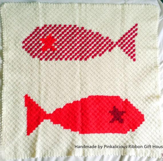 C2c Twin Roter Fisch Decke Häkeln Etsy
