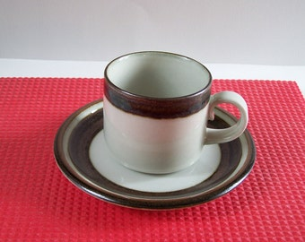 Arabia Finland saucer and cup  Karelia pattern white and brown vintage