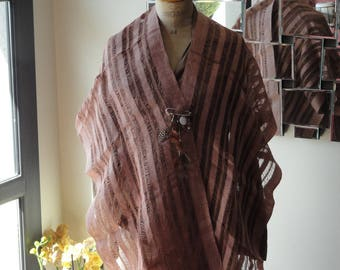 """Summer poncho """"Frame story"""" customized with brooch"""