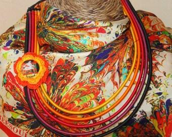 """Resin necklace multicolor multi """"color dare"""" with button"""
