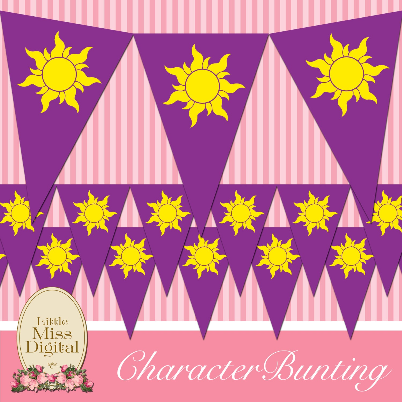 Rapunzel Tangled empavesado bandera cumpleaños partido | Etsy