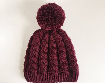 Burgundy pompom cable knit beanie hat // Bobble Hat // Size Small //Gift Present