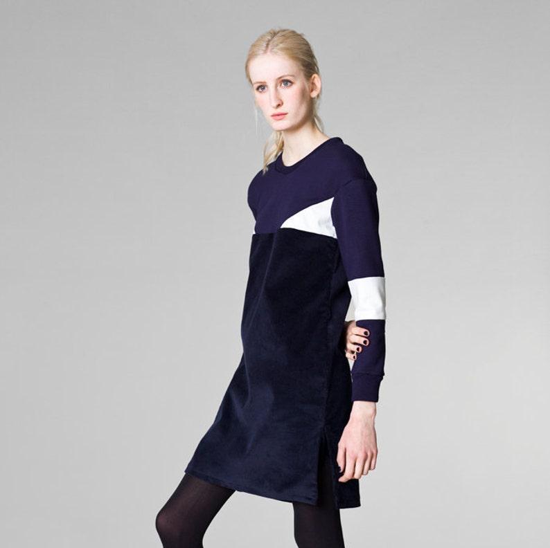 8348889a17 Navy corduroy dress   mid length dress   corduroy dress