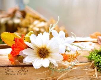 orange Rustic Weddings Ivory Woodland hair clip fall hair accessories floral wedding hair piece bride flower barrette daisy hair clip