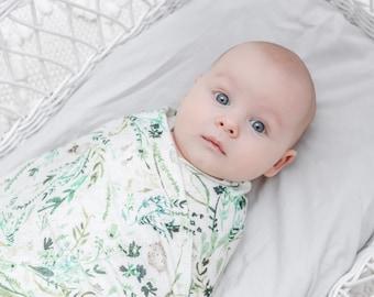 Organic green natural baby wrap newborn swaddle baby shower gift new baby unisex