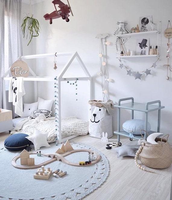 Crochet rug round rug nursery decor kids room neutral nursery boys room  girls room play room
