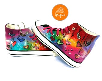 Hearts Sneakers Shoes High Tops Hand Painted