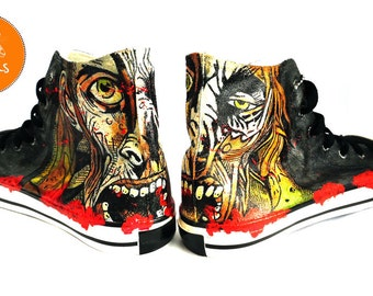 fc5f6bd1b858 Zombie Painted Personalized Sneakers